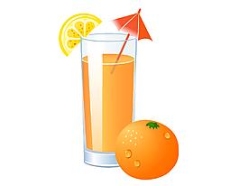 矢量橙汁饮料元素