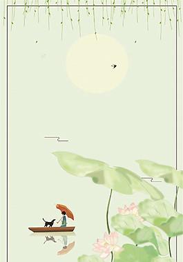 彩繪小清新荷塘柳葉船只夏至背景素材