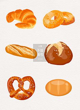 矢量手绘面包素材
