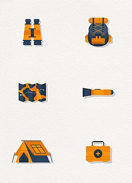 6款橙色野營物品設計矢量素材