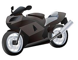 卡通黑色摩托車元素