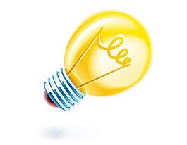 卡通黃色燈泡矢量元素