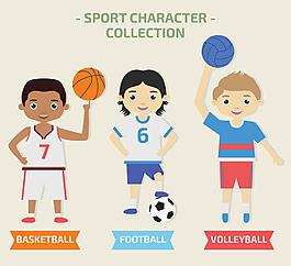 卡通矢量足球運動員人物