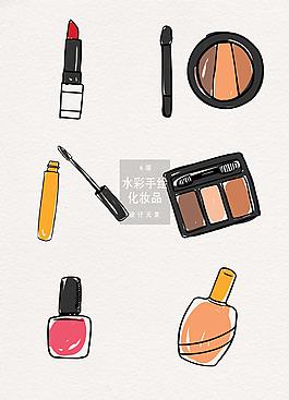 手绘化妆品AI素材