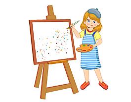 畫板上認真畫畫的女孩矢量圖