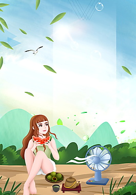 夏日小暑西瓜女孩海报背景设计