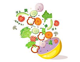 小清新蔬菜水果沙拉元素