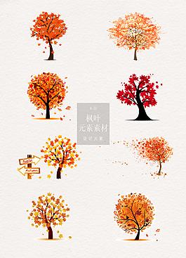 秋天楓葉樹元素素材