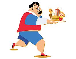 吃速食的卡通肥胖男孩