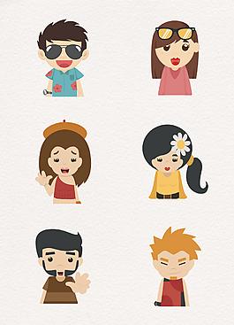 6款夏日可愛人物矢量頭像