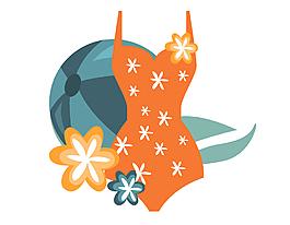 海灘時尚泳衣矢量圖
