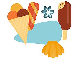 扁平化手繪美味冰激凌雪糕