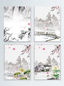 水墨荷花涼亭中國風廣告背景