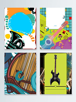 彩色樂器暑期培訓班廣告背景圖