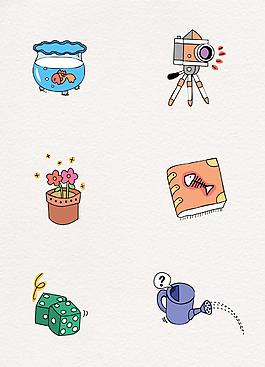 韓國卡通風格矢量圖標素材