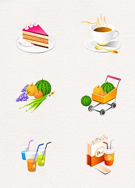 韩国卡通风食品图标元素