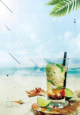 海邊度夏檸檬冷飲背景素材
