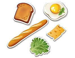 卡通蔬菜面包雞蛋元素