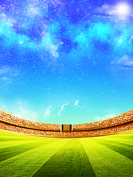 藍色白云世界杯足球背景
