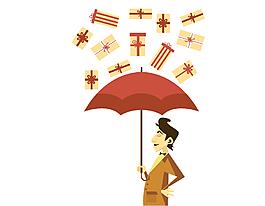 手繪人物打傘元素
