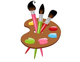 颜料画板与画笔矢量图
