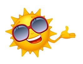 矢量卡通微笑的太阳