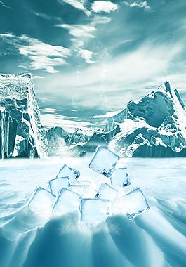 冰山雪原海报背景