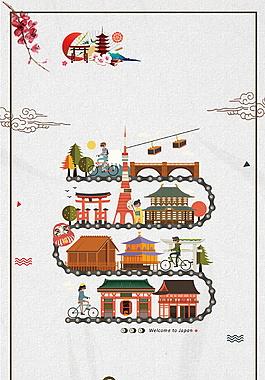 日式建筑廣告背景