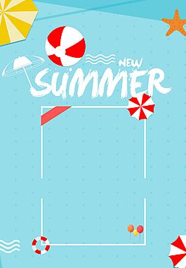 藍色小清新夏季上新背景