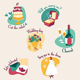 矢量婚礼戒指蛋糕元素