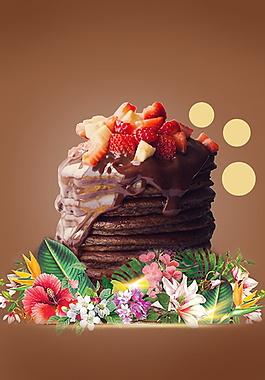 美味巧克力草莓松糕廣告背景