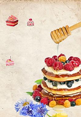 美味水果松糕广告背景
