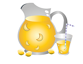 手繪黃色飲料元素