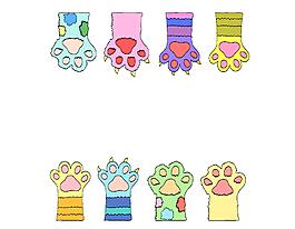 手繪彩色手套元素