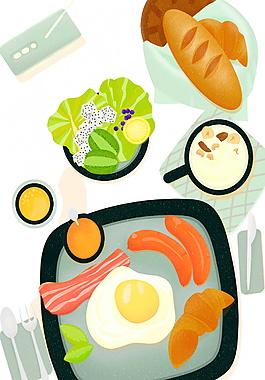 清香手繪早餐食物裝飾元素