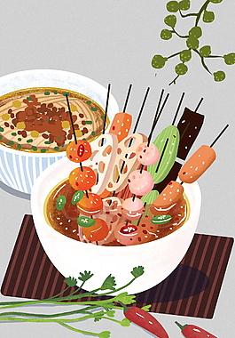 麻辣美味四川美食串串香裝飾元素