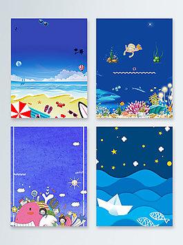 大海海灘卡通海洋海底世界廣告背景
