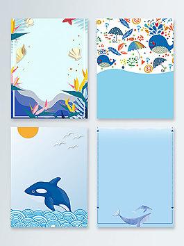 海紋卡通海洋海底世界廣告背景