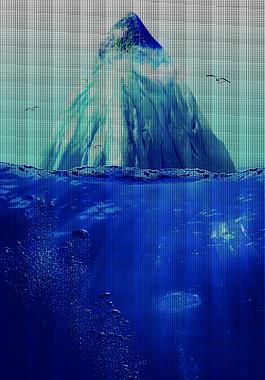 雪山水底海報背景