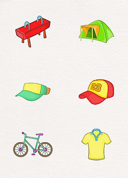 6款彩色露营设计元素