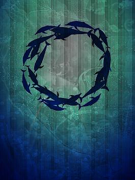 藍色海洋魚群世界海洋日背景素材