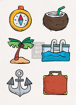 手绘旅行旅游装饰图案