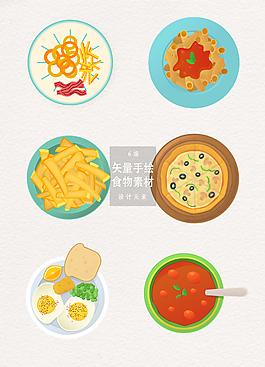 手繪美食食物俯視插畫AI素材