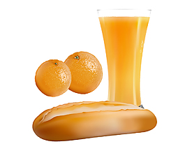 卡通面包橙子果汁元素