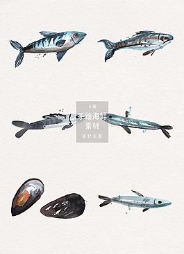 水彩手繪海鮮矢量素材