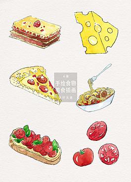 手绘餐厅食物美食插画