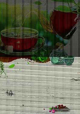 茶葉綠茶茶海報背景