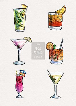 手绘鸡尾酒AI插画