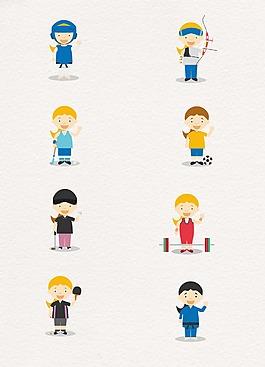 運動員人物卡通設計