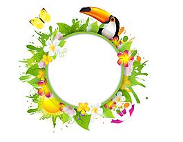 啄木鳥花邊圓形對話框